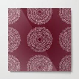 BOHO SPIRAL RED Metal Print