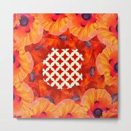 MODERN RED-ORANGE POPPY FLOWERS GARDEN VIGNETTE  WHITE DESIGN Metal Print