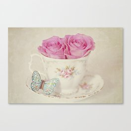 Vintage Pastel Shades Roses in a Teacup Canvas Print