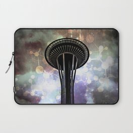 Space Needle - Seattle Stars and Clouds at Night Laptop Sleeve