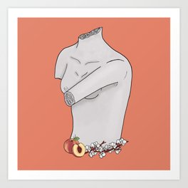 Sculpture Bust with Peaches and Blossoms Art Print