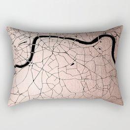 London Rosegold on Black Street Map Rectangular Pillow