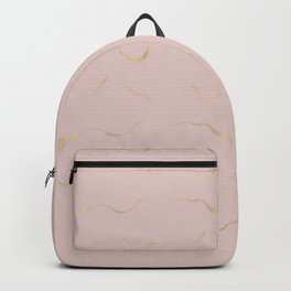 Elegant blush pink gold watercolor brushstrokes Backpack