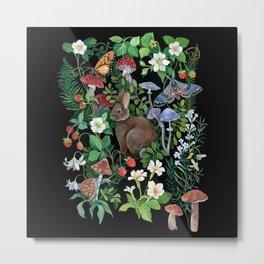 Rabbit and Strawberry Garden Metal Print