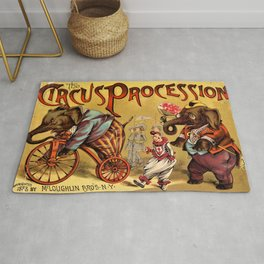 1888 Vintage Circus Elephant Procession Vintage Poster Rug