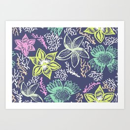 Chalk Floral Art Print