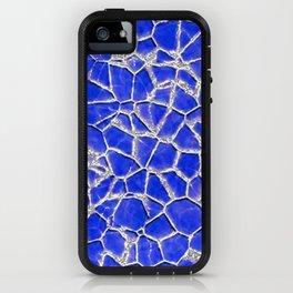Blue broken glass texture iPhone Case