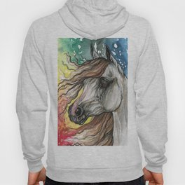 Horse with rainbow background Hoody