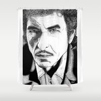bob dylan Shower Curtains featuring Bob Dylan by Jocke Hegsund