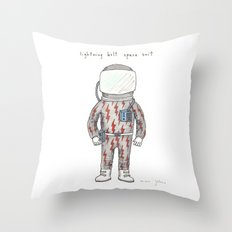 lightning bolt space suit Throw Pillow