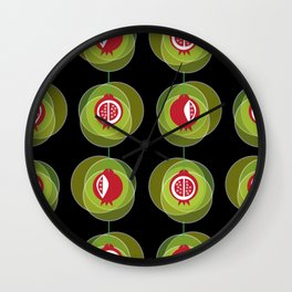 Pomegranate wind chime with black background Wall Clock
