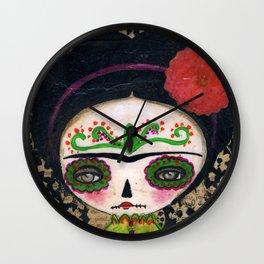 Frida The Catrina And The Devil - Dia De Los Muertos Mixed Media Art Wall Clock