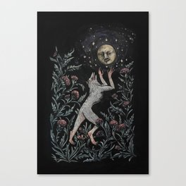 She wolf and the mean moon Canvas Print