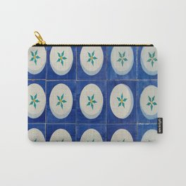 Green leaves in classic blue squares Carry-All Pouch
