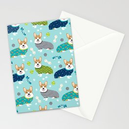 Corgi pajamas welsh corgi in pjs pattern print cute dog gifts custom dog portrait Stationery Cards