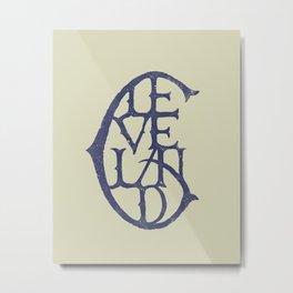 Vintage Cleveland Typography (Light) Metal Print