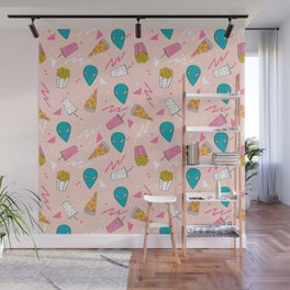 Alien outer space cute aliens french fries rad sodas pattern print pink Wall Mural