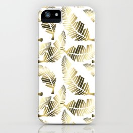 Tropical brown gold abstract leaves floral pattern iPhone Case