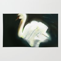swan Area & Throw Rugs featuring Swan by Jet McLeod