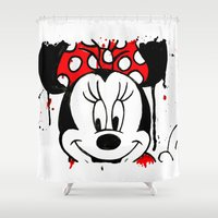 minnie mouse Shower Curtains featuring Minnie Mash Head by Dave Seedhouse.com