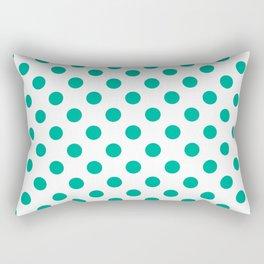 Teal Polka Dots Rectangular Pillow