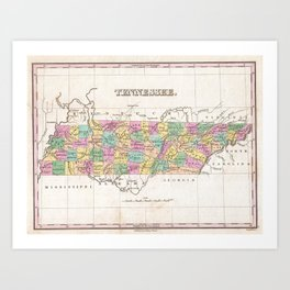 Vintage Map of Tennessee (1827) Art Print