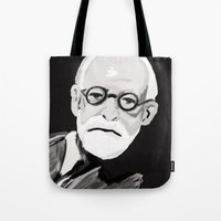 freud Tote Bags featuring Freud  by BJD124