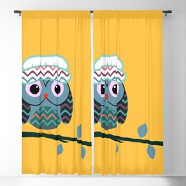 Cute owl sitting on a branch Blackout Curtain