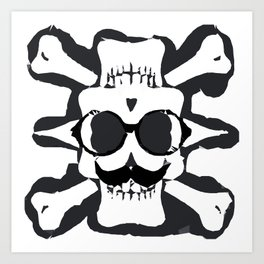 old funny skull and bone art portrait in black and white Art Print