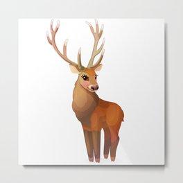 Cute noble deer. Vector graphic character Metal Print