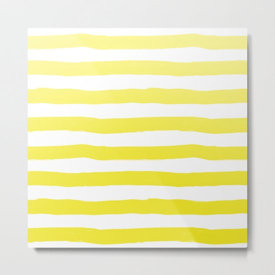 Sun Yellow Handdrawn horizontal Beach Stripes - Mix and Match with Simplicity of Life Metal Print
