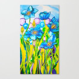 Blue Poppies 2 Canvas Print