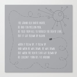 Pop Culture Nursery Rhymes: The Grand Old Darth Vader Canvas Print