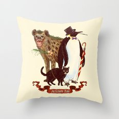 At the Arkham Zoo Throw Pillow