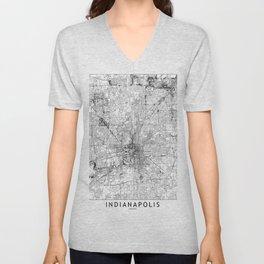 Indianapolis White Map Unisex V-Neck