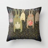 bunnies Throw Pillows featuring Bunnies by Florence Weiser
