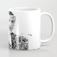 james bond Mugs featuring James Bond Sean Connery Text Portrait by Mike Clements