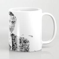 james bond Mugs featuring James Bond Sean Connery Text Portrait by Mike Clements
