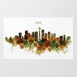 Seattle Watercolor Skyline Poster Rug