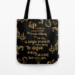 An Ember In The Ashes Quote Design in Gold Foil Tote Bag