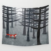 grey Wall Tapestries featuring The Fox and the Forest by Nic Squirrell