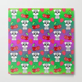 Cute little happy grey little baby Schnauzer puppies, yummy red sweet summer strawberries and funny Kawaii cherries pink and green fruity pattern design. Metal Print