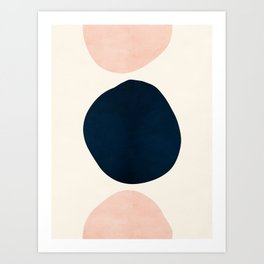 Pink and Blue Abstract Shapes Art Print