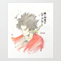 samurai champloo Art Prints featuring Samurai Champloo - Mugen Watercolour by Christopher Nguyen