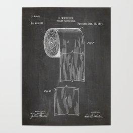 Toilet Paper Patent - Bathroom Art - Black Chalkboard Poster
