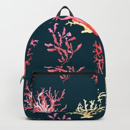 Seamless pattern watercolor tropical sea corals on a dark blue background Backpack