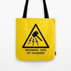 Warning: God of Thunder Tote Bag