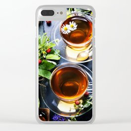 Herbal tea with honey, wild berry and flowers on wooden background Clear iPhone Case