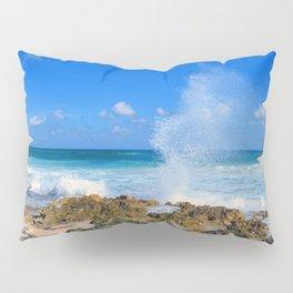 Cozumel teal water ocean crash wave water spout Pillow Sham