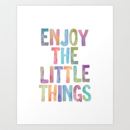 Enjoy the Little Things Watercolor Rainbow Design Inspirational Quote bedroom Wall Art Home Decor Art Print
